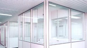 controsoffitto per pareti mobili in doghe alluminio